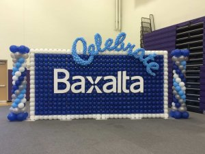 Balloon wall with logo for Baxalta, at Cal Lutheran University Stan Gilbert Sports Center