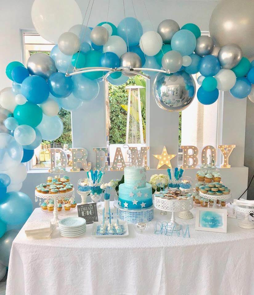 Organic arch for a Dream Boy baby shower.