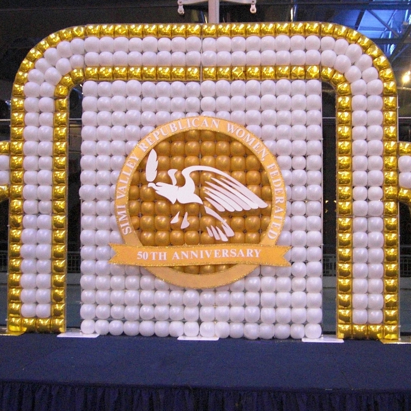 Balloon wall stage backdrop Simi Valley Ronald Reagan Library